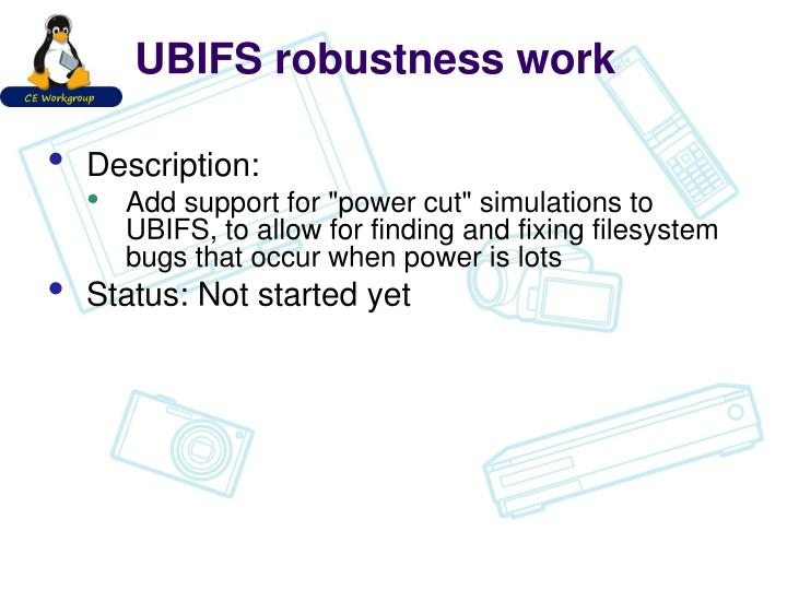 UBIFS robustness work