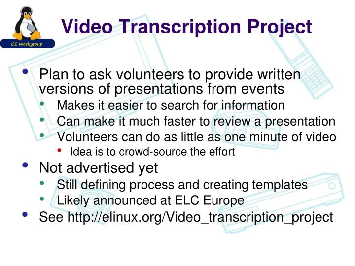 Video Transcription Project