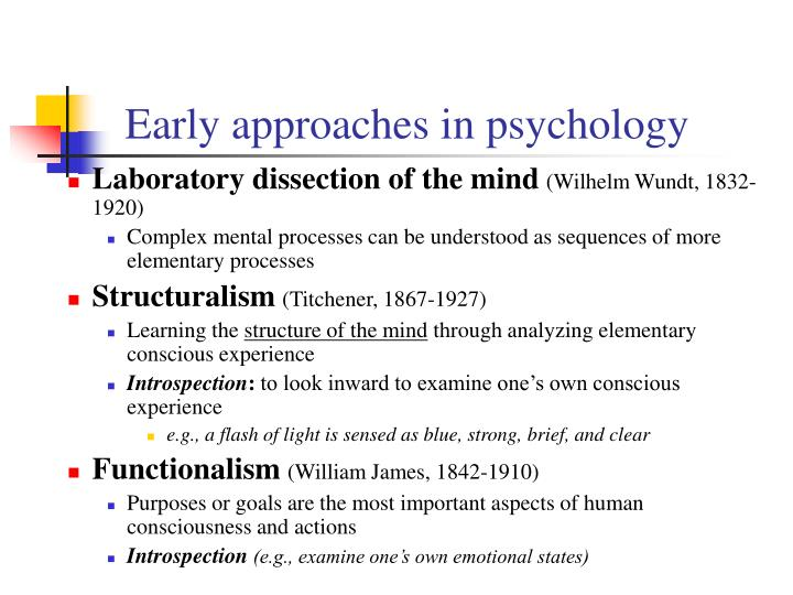 Early approaches in psychology