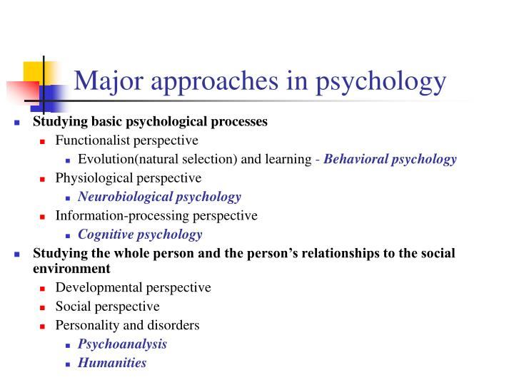 Major approaches in psychology