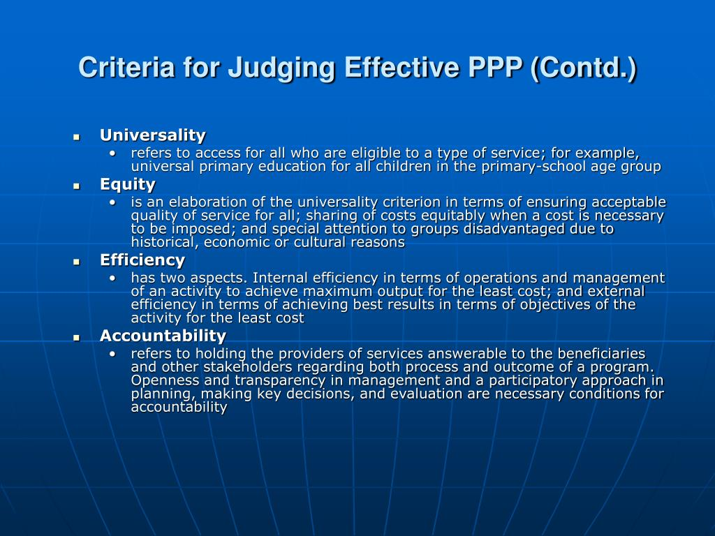 Criteria for Judging Effective PPP (Contd.)