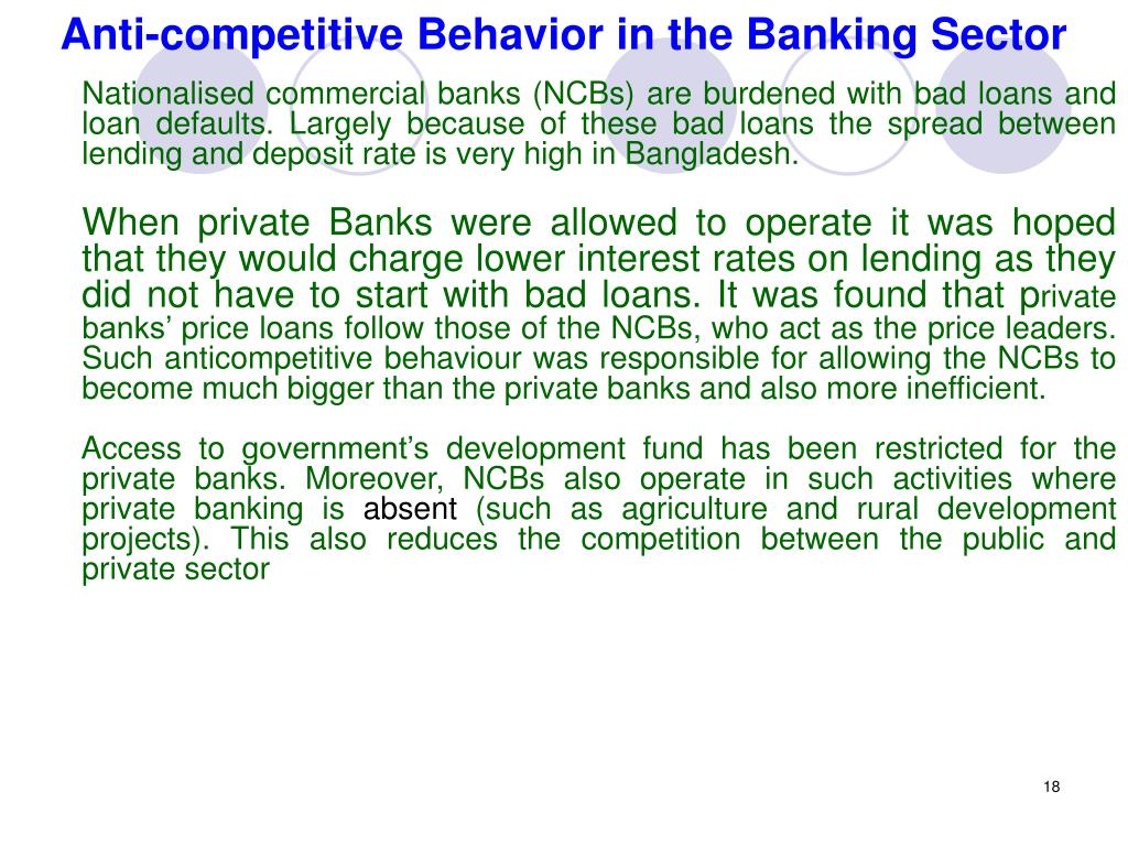 Anti-competitive Behavior in the Banking Sector