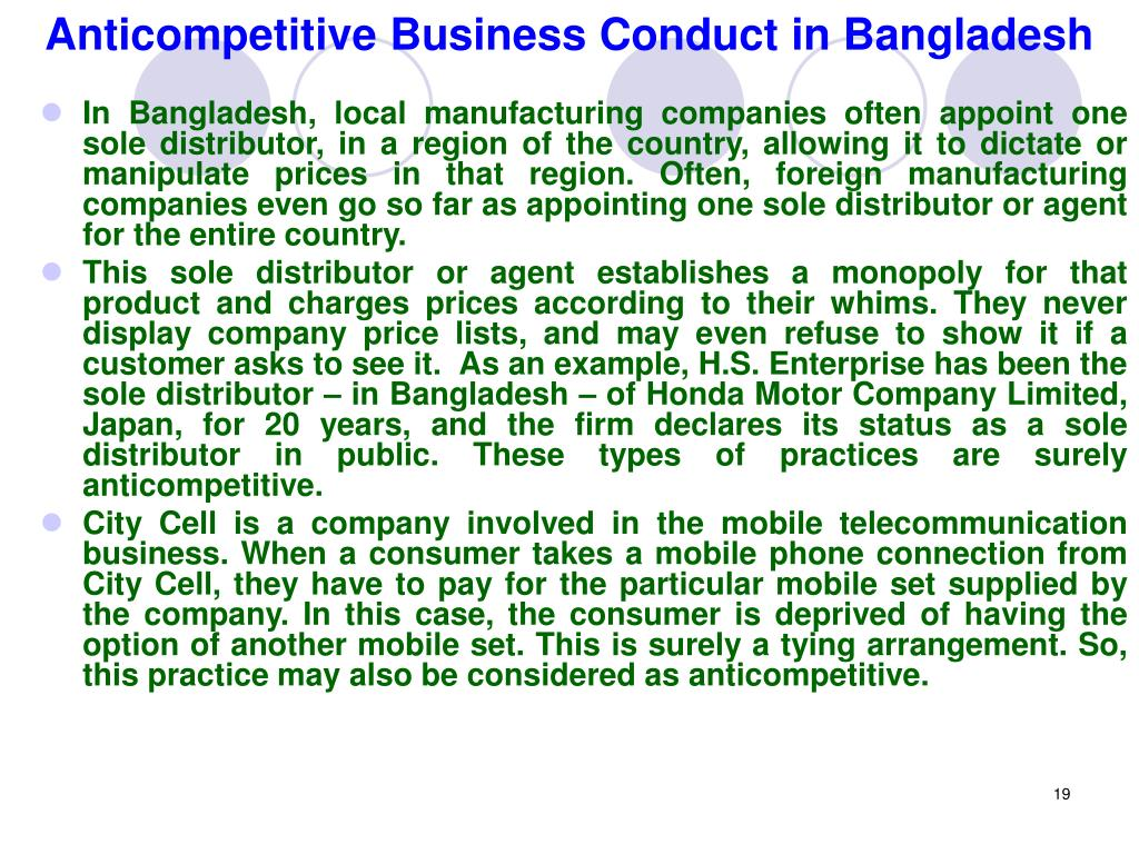Anticompetitive Business Conduct in Bangladesh