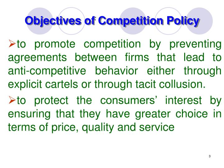 Objectives of Competition Policy