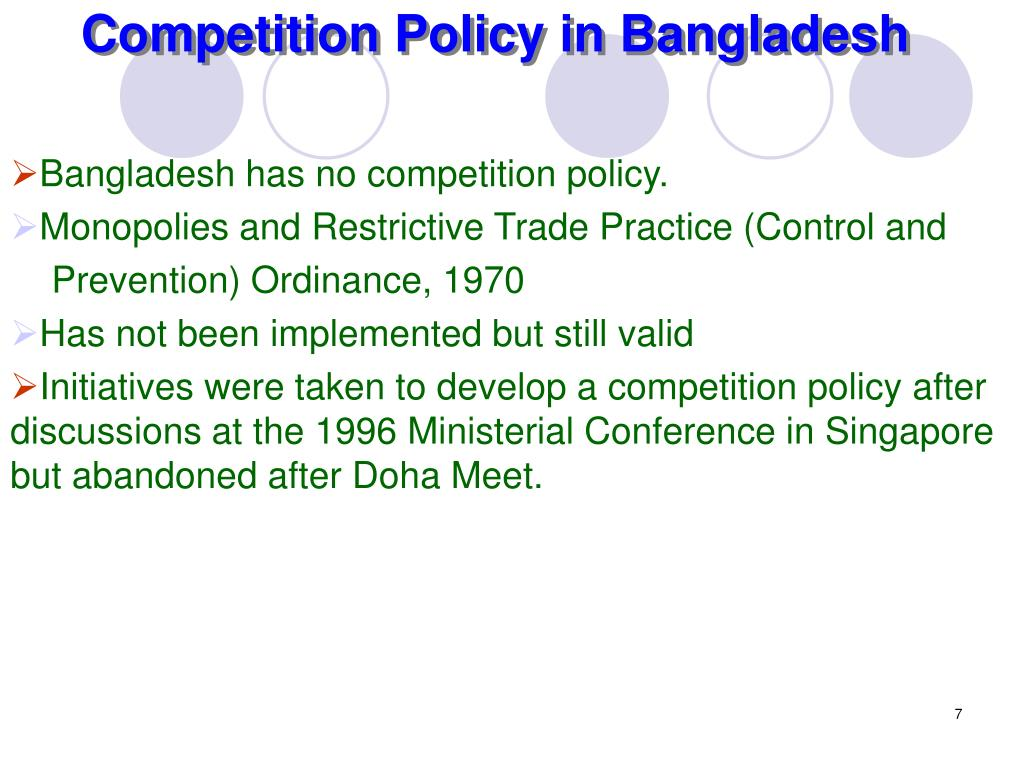 Competition Policy in Bangladesh