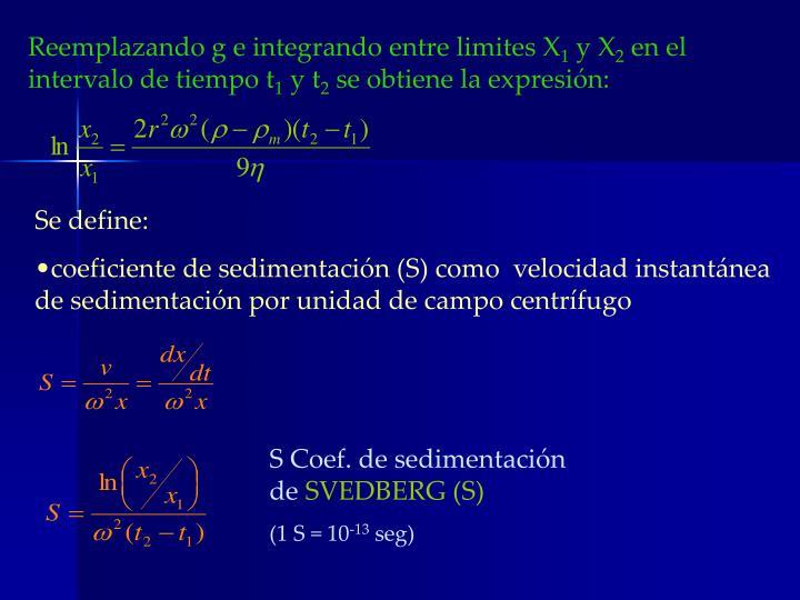 Reemplazando g e integrando entre limites X