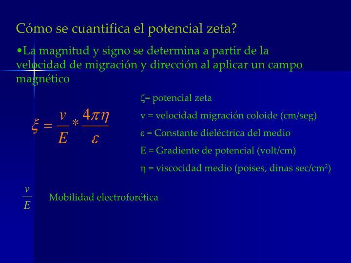 Cómo se cuantifica el potencial zeta?