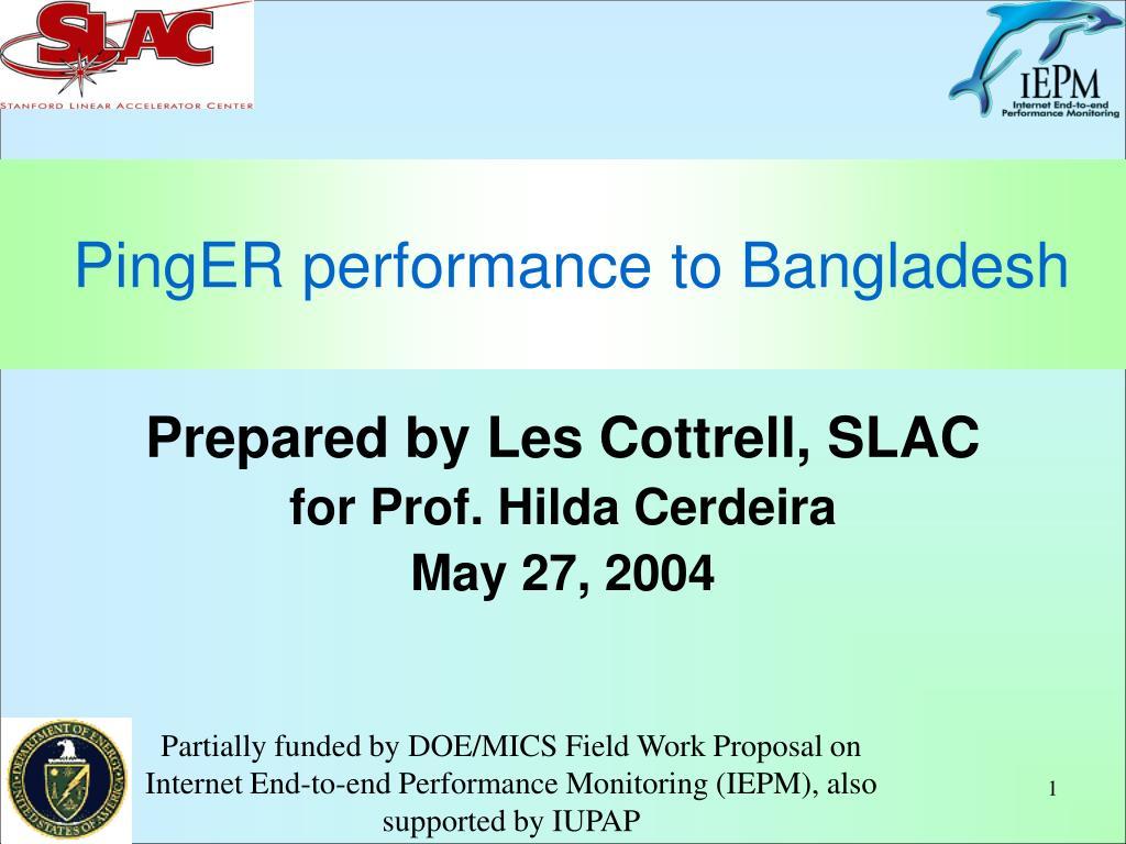 PingER performance to Bangladesh
