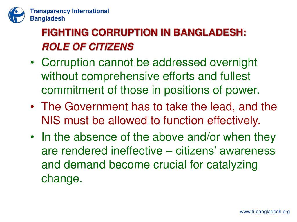 FIGHTING CORRUPTION IN BANGLADESH: