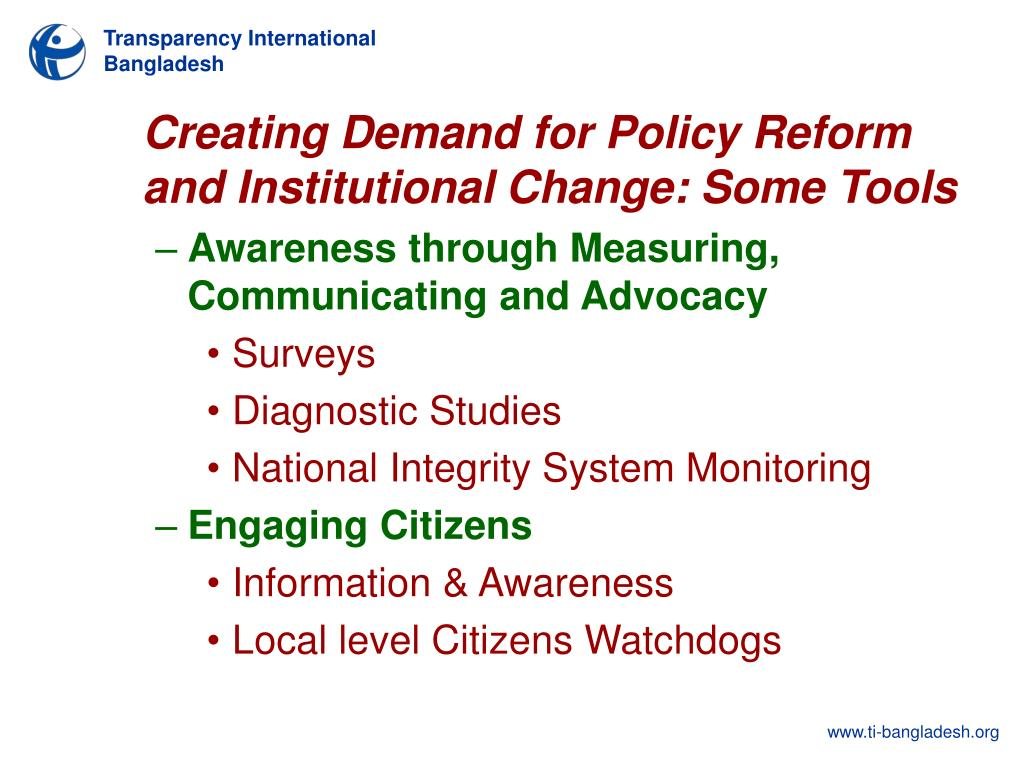 Creating Demand for Policy Reform and Institutional Change: Some Tools