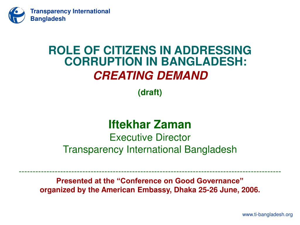 ROLE OF CITIZENS IN ADDRESSING CORRUPTION IN BANGLADESH: