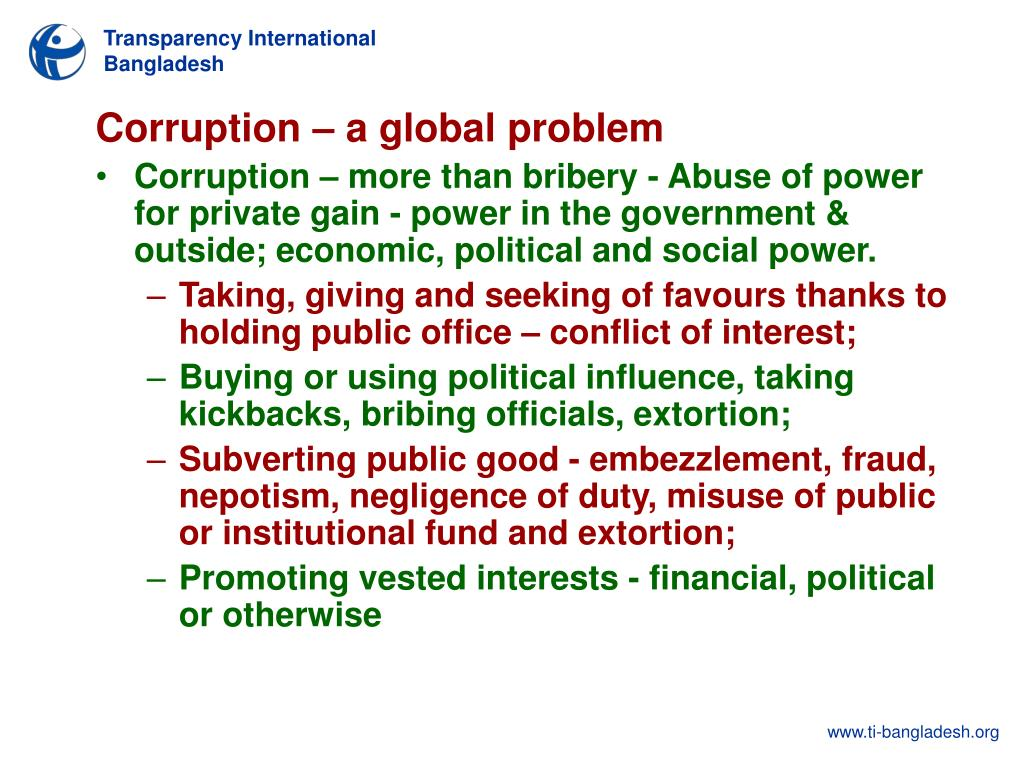 Corruption – a global problem