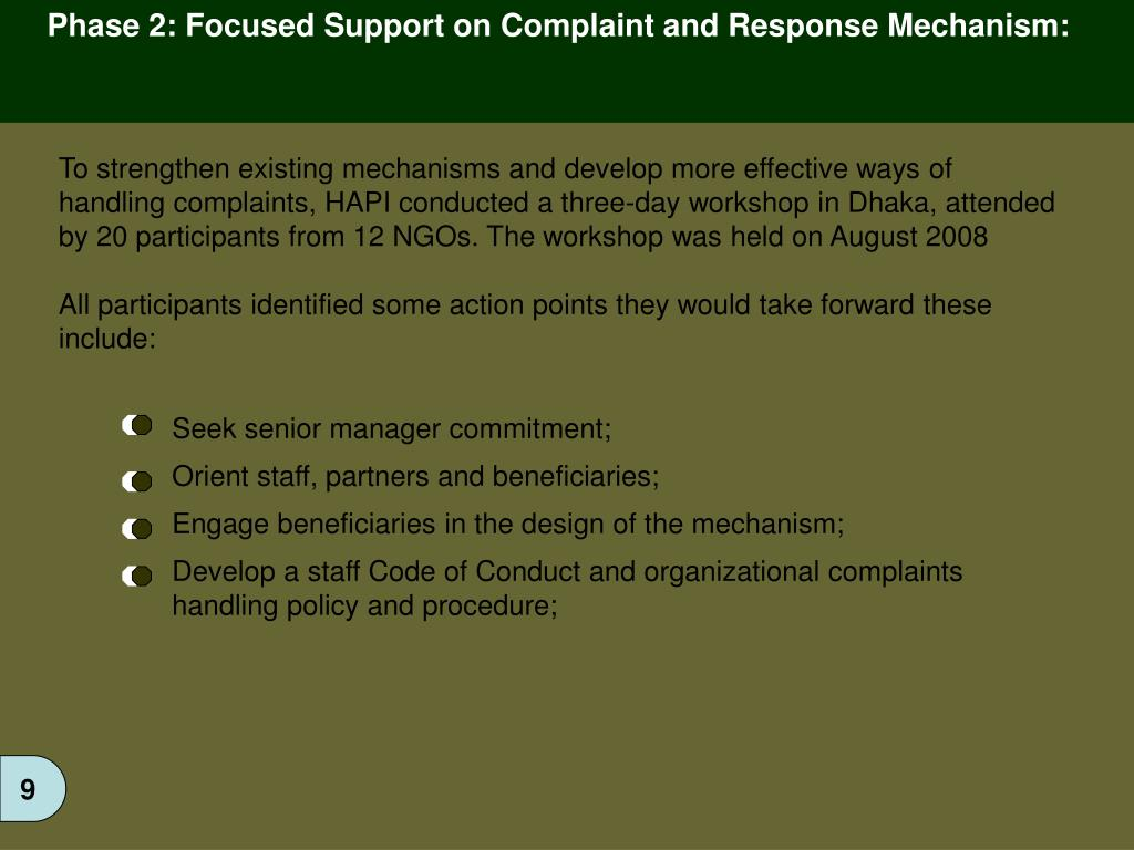 Phase 2: Focused Support on Complaint and Response Mechanism: