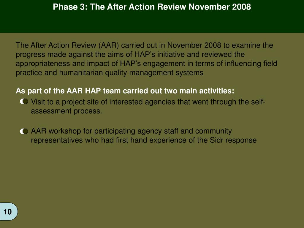 Phase 3: The After Action Review November 2008