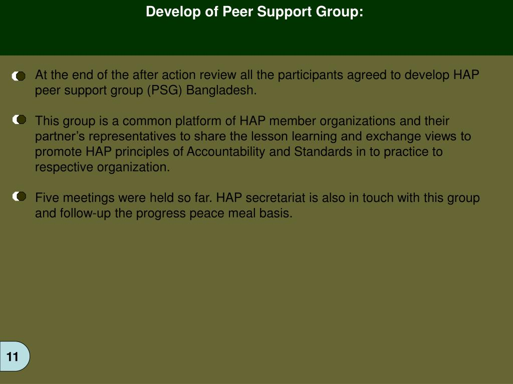 Develop of Peer Support Group: