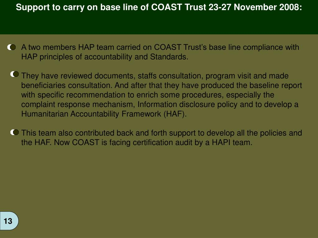 Support to carry on base line of COAST Trust 23-27 November 2008: