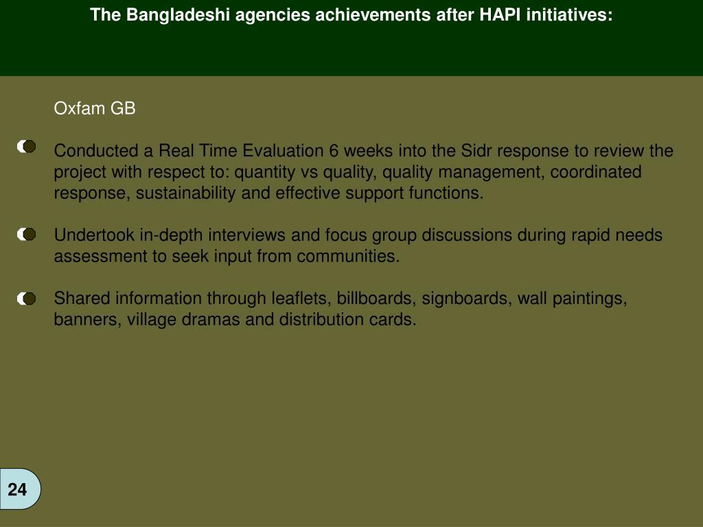 The Bangladeshi agencies achievements after HAPI initiatives: