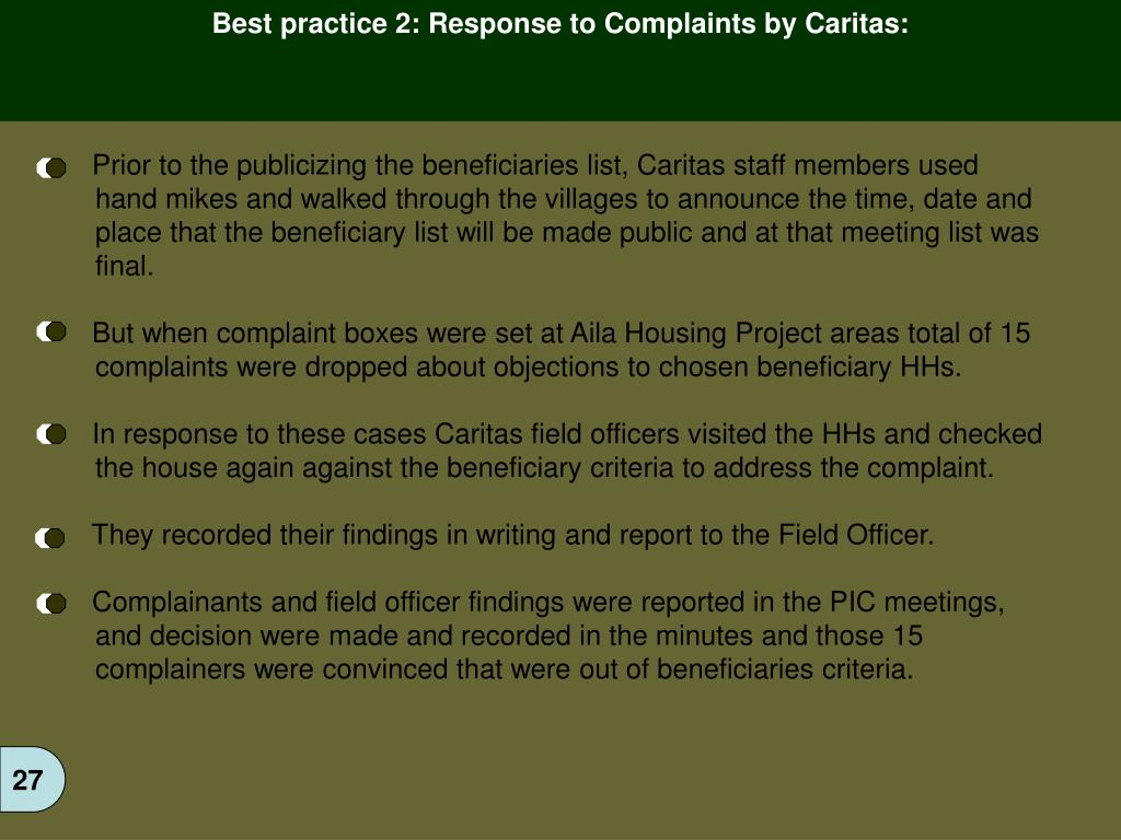 Best practice 2: Response to Complaints by Caritas: