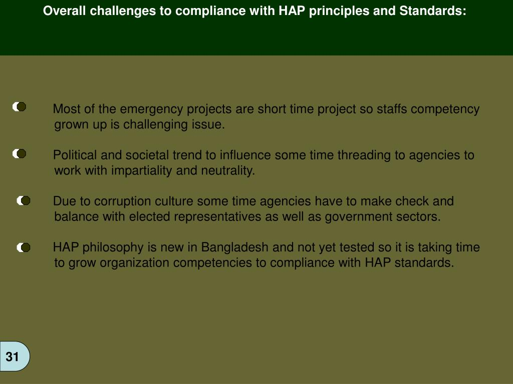 Overall challenges to compliance with HAP principles and Standards: