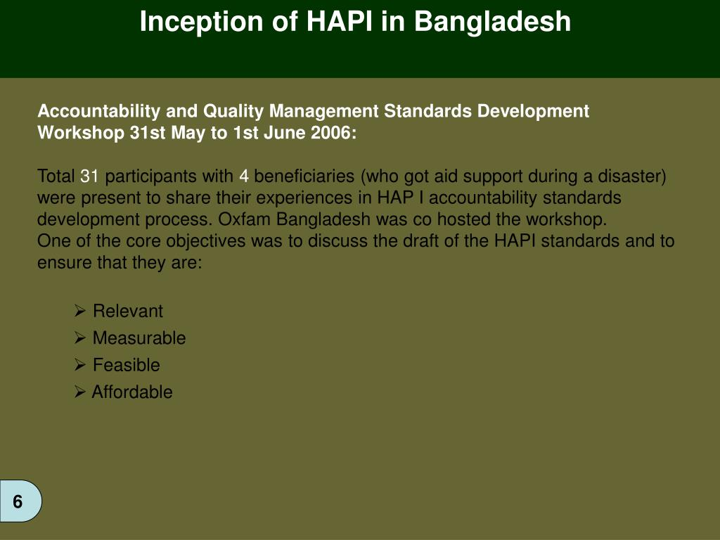 Inception of HAPI in Bangladesh