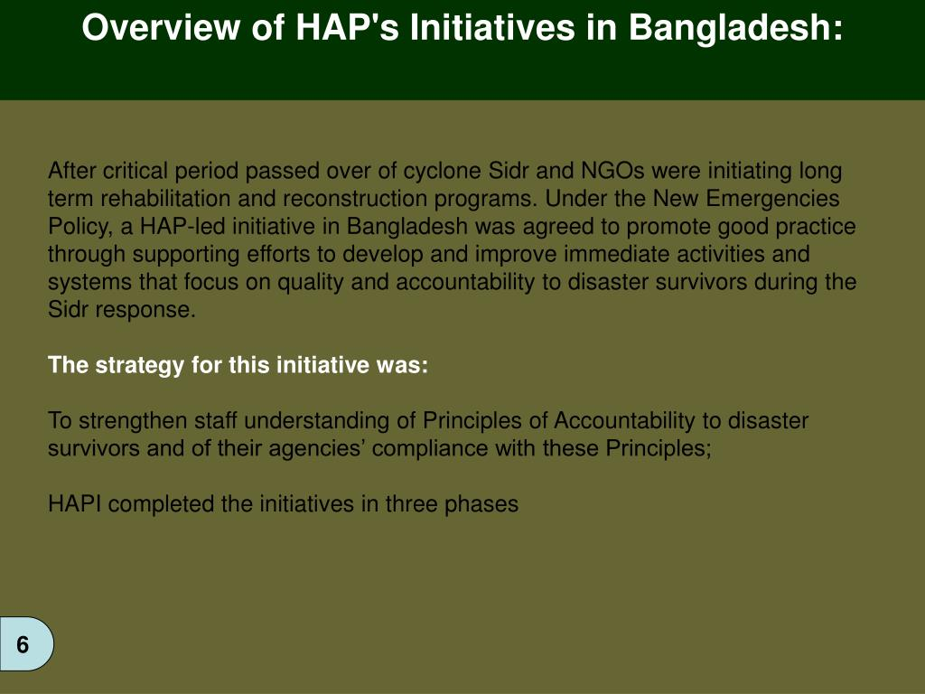Overview of HAP's Initiatives in Bangladesh: