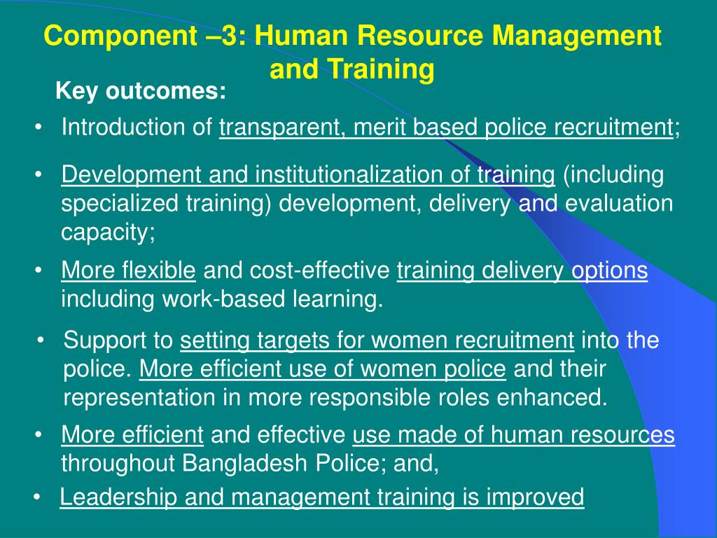Component –3: Human Resource Management and Training