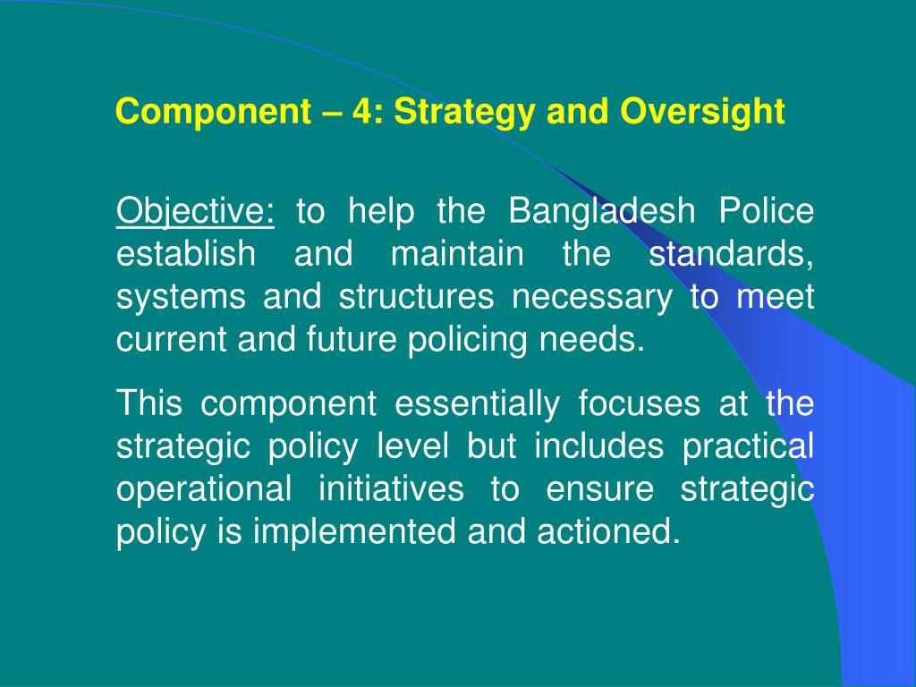 Component – 4: Strategy and Oversight