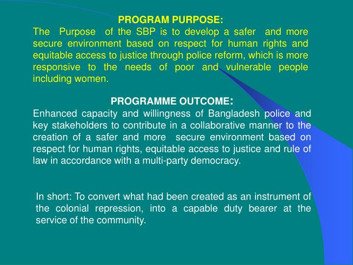 PROGRAM PURPOSE: