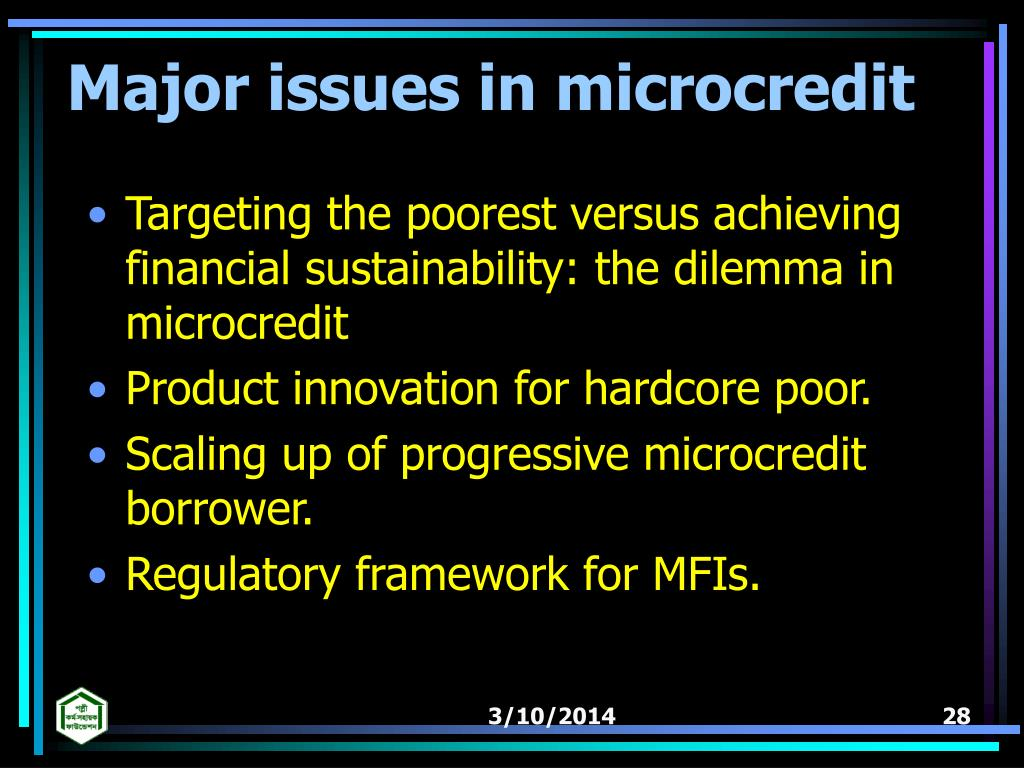 Major issues in microcredit
