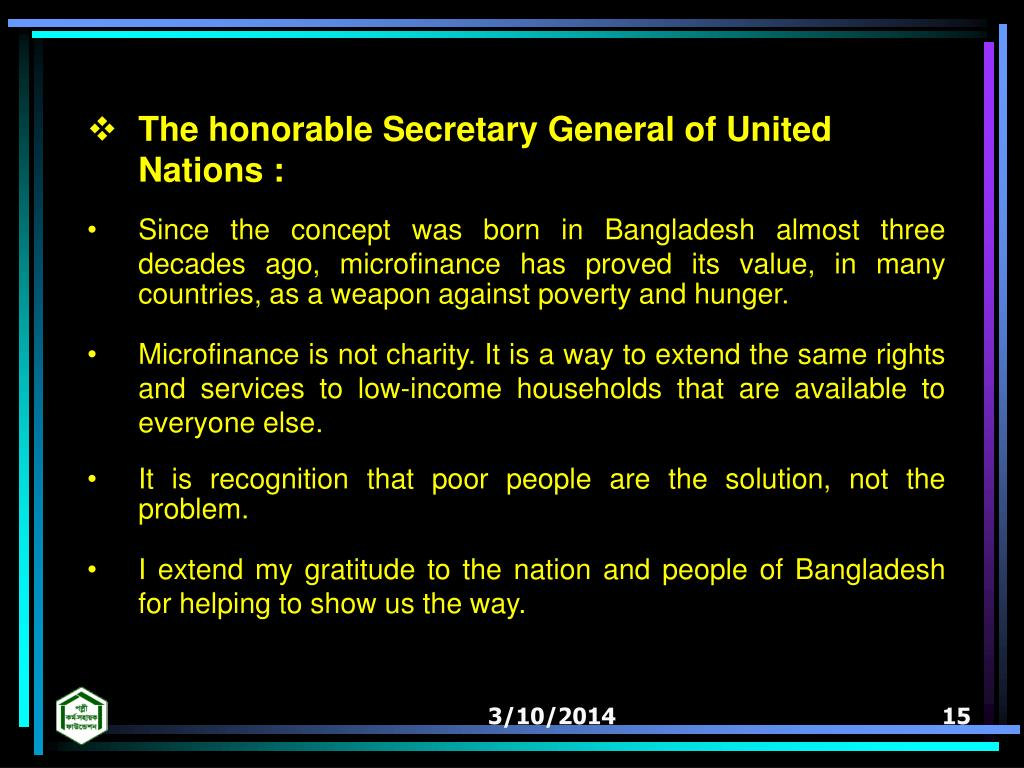 The honorable Secretary General of United Nations :
