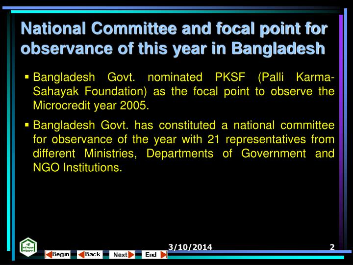 National Committee and focal point for