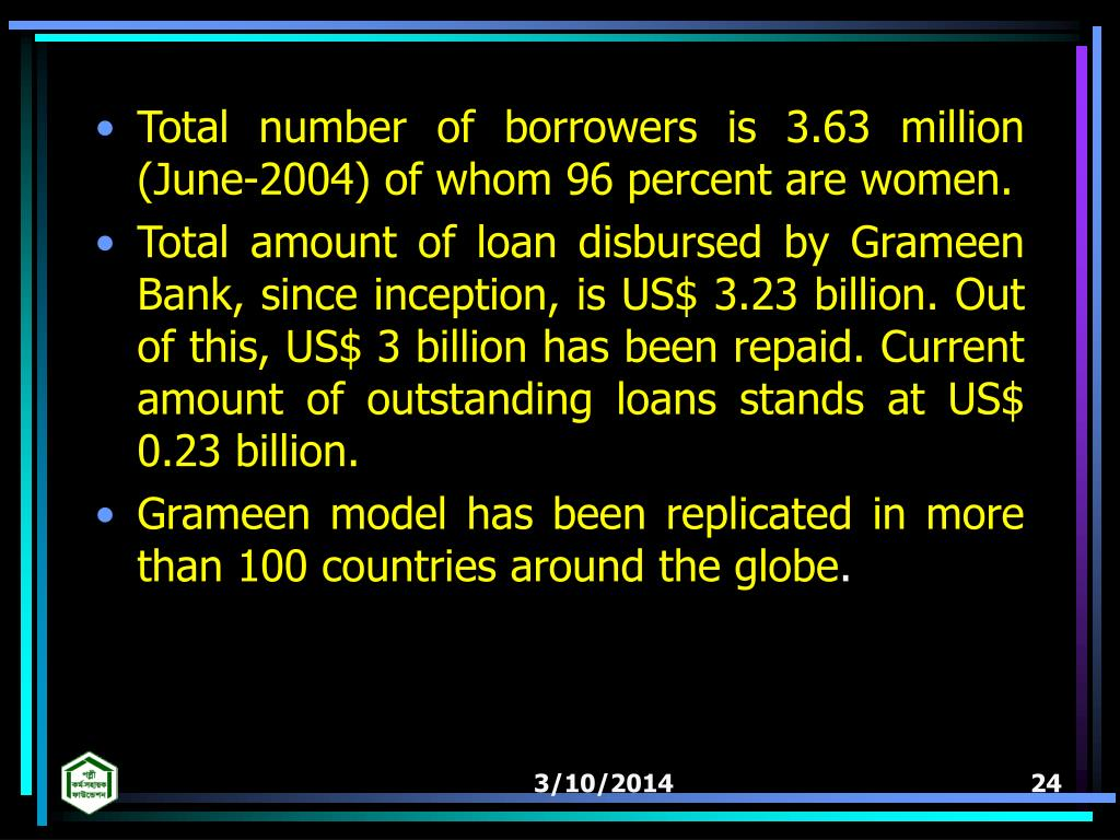 Total number of borrowers is 3.63 million (June-2004) of whom 96 percent are women.