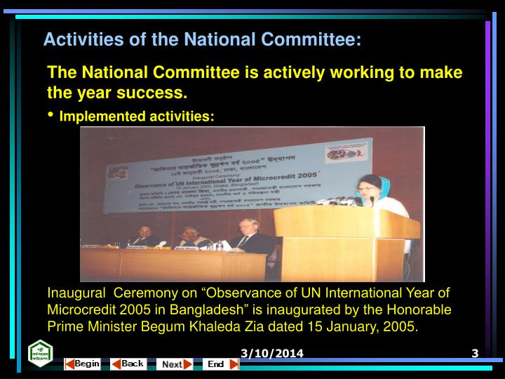 Activities of the National Committee: