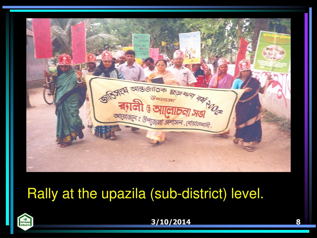 Rally at the upazila (sub-district) level.