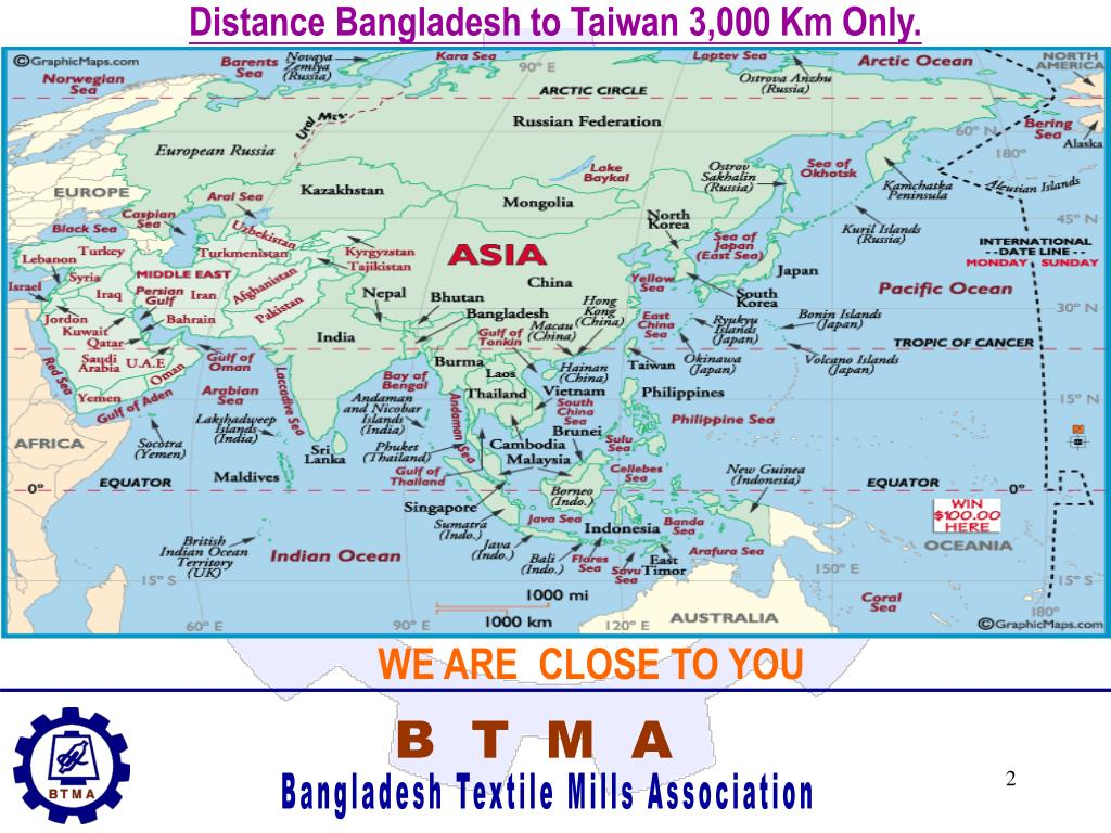 Distance Bangladesh to Taiwan 3,000 Km Only.