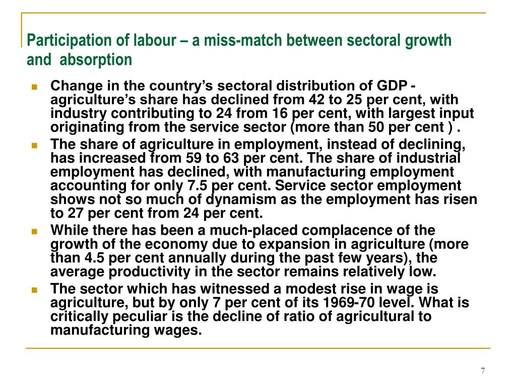 Participation of labour – a miss-match between sectoral growth and  absorption