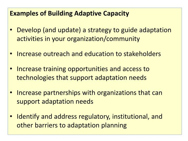 Examples of Building Adaptive Capacity