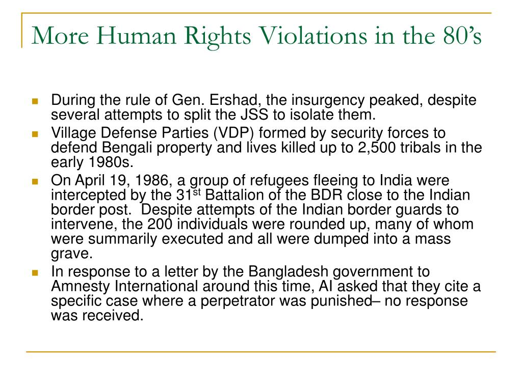 More Human Rights Violations in the 80's