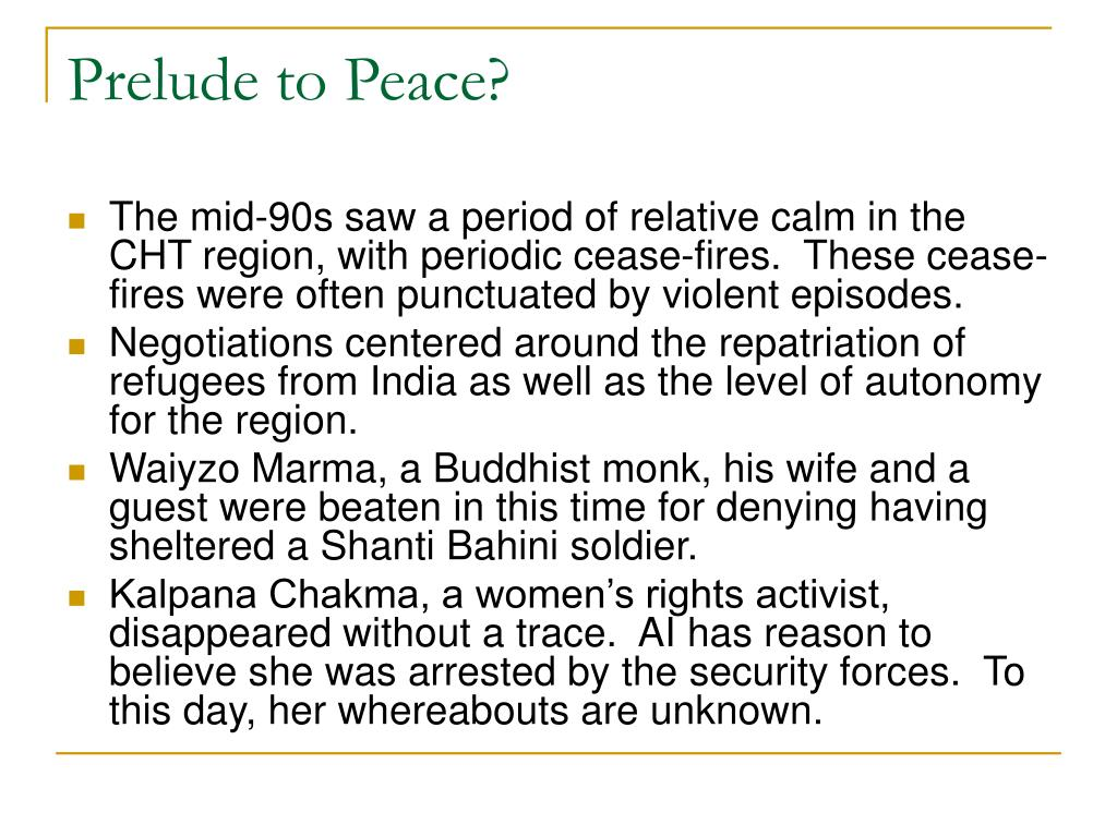 Prelude to Peace?