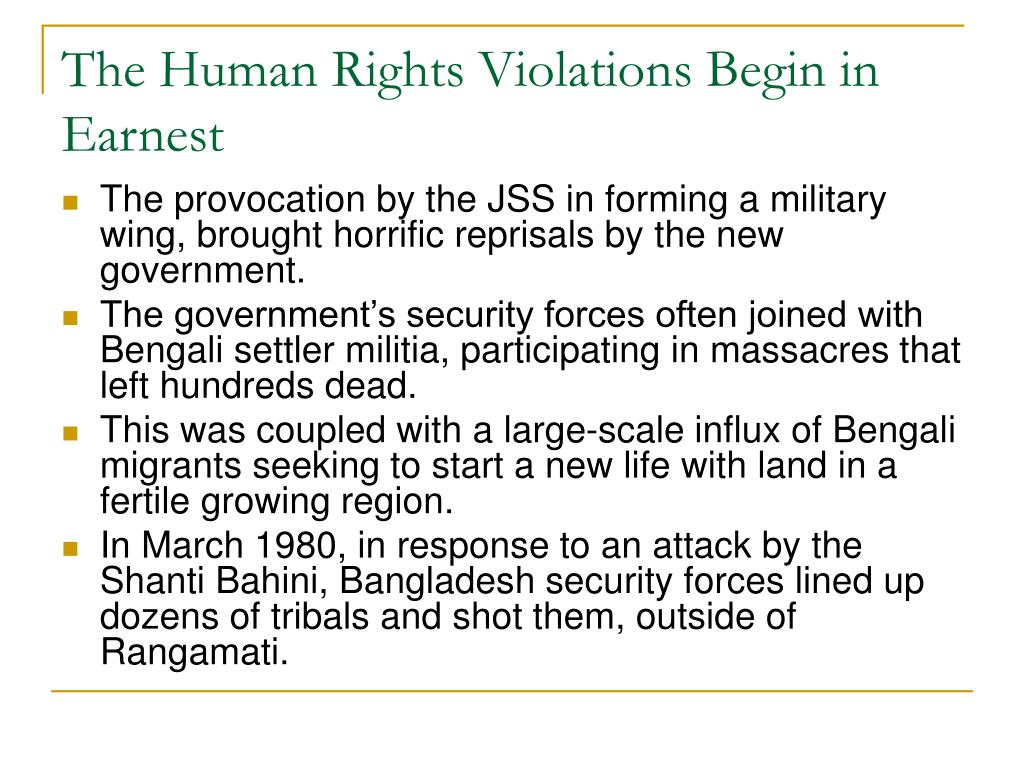 The Human Rights Violations Begin in Earnest