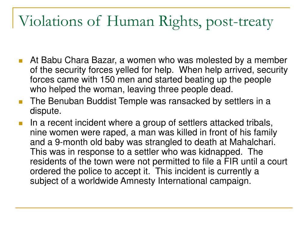 Violations of Human Rights, post-treaty
