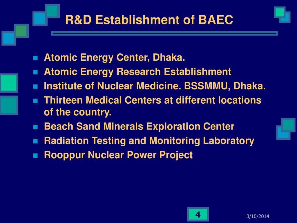 R&D Establishment of BAEC