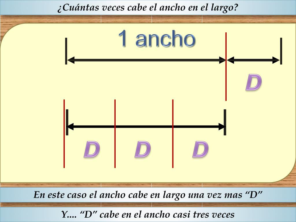 ¿Cuántas veces cabe el ancho en el largo?