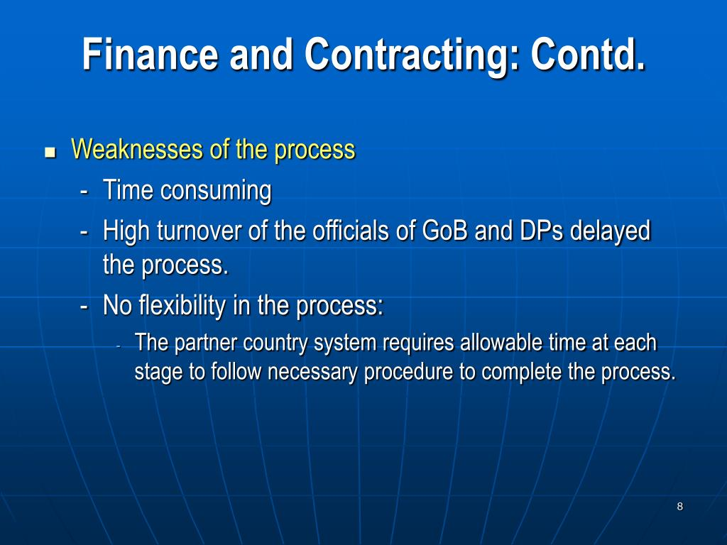 Finance and Contracting: Contd.