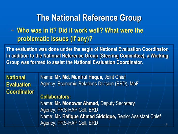 The national reference group