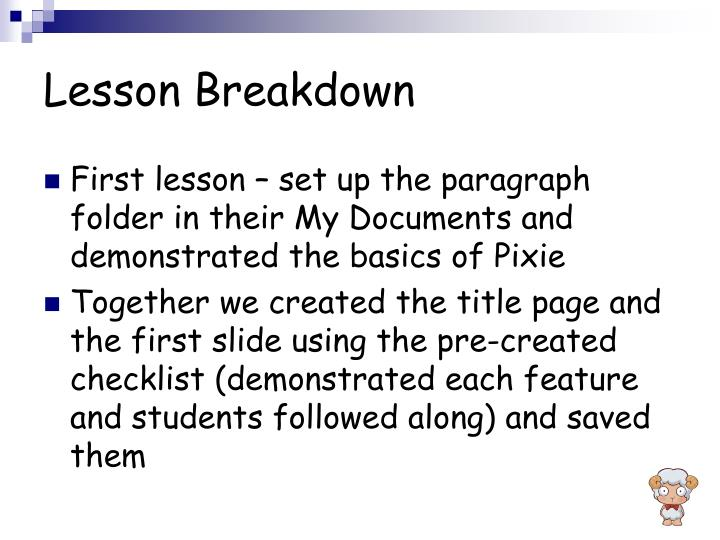 Lesson Breakdown