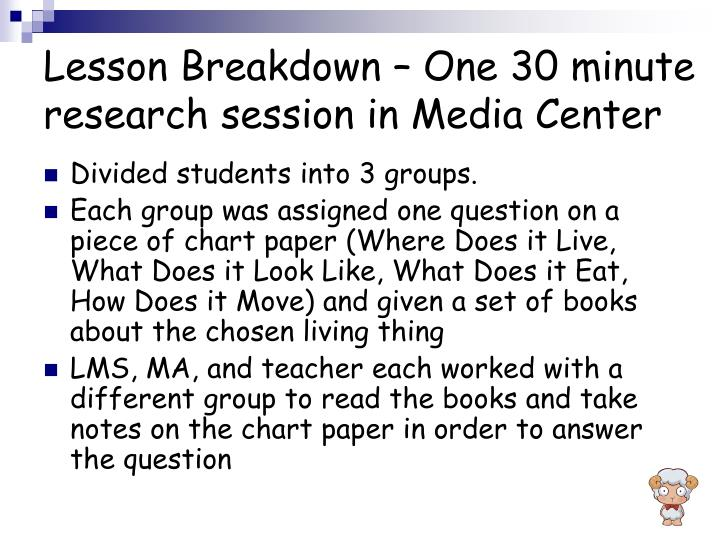 Lesson Breakdown – One 30 minute research session in Media Center