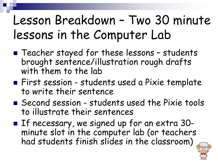 Lesson Breakdown – Two 30 minute lessons in the Computer Lab