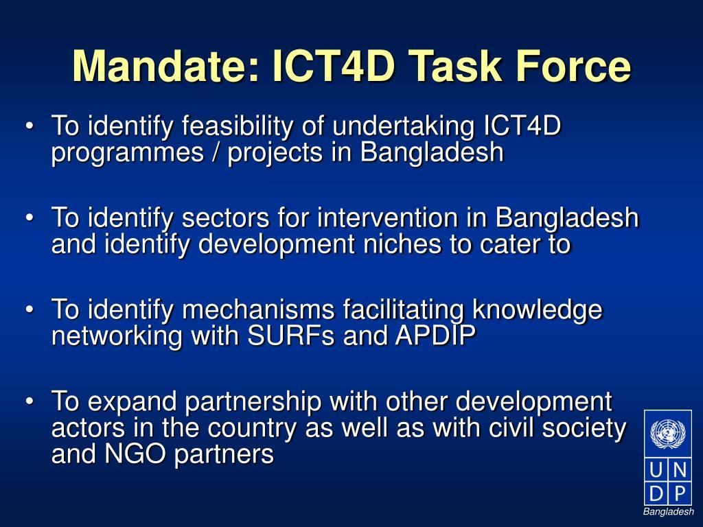 Mandate: ICT4D Task Force