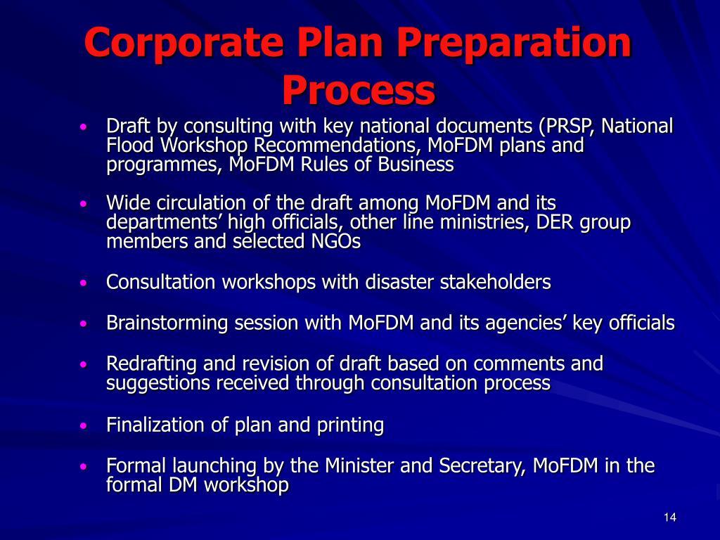 Corporate Plan Preparation Process